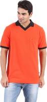 Furore Solid Mens Polo Neck Orange T-Shirt