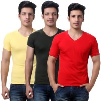 TeeMoods Solid Mens V-neck Red, Yellow, Dark Green T-Shirt(Pack of 3)
