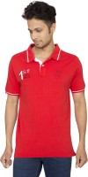 Red Line Solid Men Polo Neck Red T-Shirt