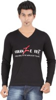 Fleximaa Printed Men's V-neck Black T-Shirt