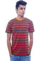 Urban Flux Striped Men Round Neck Red, Green T-Shirt