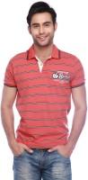 Vettorio Fratini Striped Men Polo Neck Orange T-Shirt