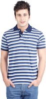 Allen Solly Striped Men Polo Neck Blue, White T-Shirt