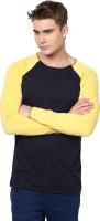 Unisopent Designs Solid Men's Round Neck Dark Blue, Yellow T-Shirt