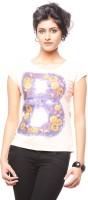 Trendy Girlz Graphic Print Womens Round Neck Beige T-Shirt