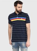 Ajile by Pantaloons Striped Men's Polo Neck Dark Blue T-Shirt