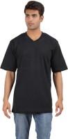 Crystal Solid Men's V-neck Black T-Shirt