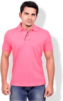 Gumality Solid Men's Polo Neck Pink T-Shirt