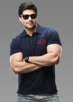 Imagica Solid Men's Polo Neck Blue T-Shirt