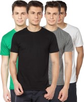 TOMO Solid Mens Round Neck Black, Grey, Green, White T-Shirt(Pack of 4)