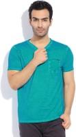 Breakbounce Solid Men's V-neck Blue T-Shirt