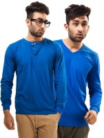 Unisopent Designs Solid Men's Henley Blue, Blue T-Shirt(Pack of 2)