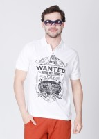 John Players Printed Men's Polo Neck White T-Shirt