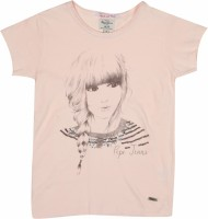 Pepe Jeans Girls Printed T Shirt(Pink, Pack of 1)