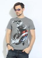 DC Comics Printed Mens Round Neck Grey T-Shirt