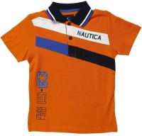 Nautica Boys Printed T Shirt(Orange, Pack of 1)