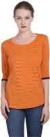 Alan Jones Polka Print Women Scoop Neck Orange T-Shirt