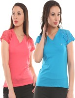 Ultra Fit Solid Women's V-neck Pink, Blue T-Shirt(Pack of 2)
