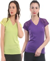 Ultra Fit Solid Women's V-neck Purple, Green T-Shirt(Pack of 2)