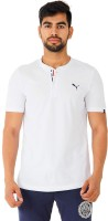 Puma Solid Men's Henley White T-Shirt