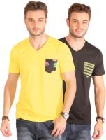 Smugglerz Inc. Solid Men's V-neck Yellow, Black T-Shirt(Pack of 2)