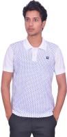 Leaf Polka Print Men's Polo Neck White, Blue T-Shirt