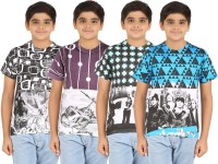 Zippy Boys Printed Cotton T Shirt(Multicolor, Pack of 4)