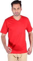 Humbert Solid Mens V-neck Red T-Shirt