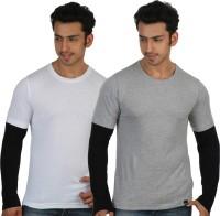 Rigo Solid Mens Round Neck White, Grey T-Shirt(Pack of 2)