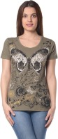 Meira Printed Womens Round Neck Light Green T-Shirt