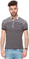 Mufti Striped Men's Polo Neck Black T-Shirt