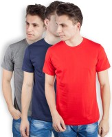 TOMO Solid Men's Round Neck Grey, Dark Blue, Red T-Shirt(Pack of 3)