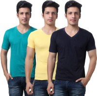 TeeMoods Solid Mens V-neck Dark Blue, Green, Yellow T-Shirt(Pack of 3)
