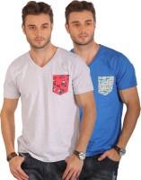 Smugglerz Inc. Solid Men's V-neck Blue, Grey T-Shirt(Pack of 2)