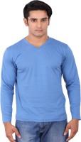 Rat Trap Solid Men V-neck Blue T-Shirt
