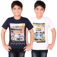 Aedi Boys Solid T Shirt(White, Pack of 2)