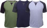 Poshuis Solid Men's Round Neck Green, Grey, Blue T-Shirt(Pack of 3)