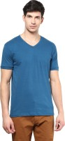 Izinc Solid Men V-neck Light Blue T-Shirt