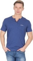 Wilkins & Tuscany Solid Men Henley Blue T-Shirt