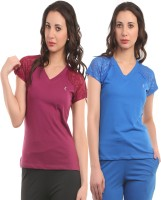 Ultra Fit Solid Women's V-neck Maroon, Blue T-Shirt(Pack of 2)