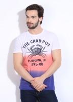 People Printed Men's Round Neck Pink, Purple, White T-Shirt