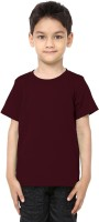 99Tshirts Boys Solid Cotton T Shirt(Maroon, Pack of 1)