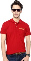 University of Oxford Solid Men's Polo Neck Red T-Shirt
