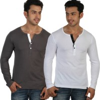 Rigo Solid Mens Henley Grey, White T-Shirt(Pack of 2)