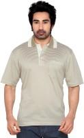 Thinc Striped Mens Polo Neck Beige, White T-Shirt