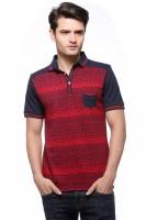Fasnoya Printed Men's Polo Neck Dark Blue T-Shirt