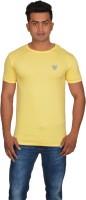 DoubleF Solid Men's Round Neck Yellow T-Shirt