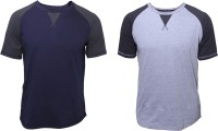 Poshuis Solid Men's Round Neck Dark Blue, Grey T-Shirt(Pack of 2)