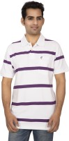 Red Line Striped Men Polo Neck Purple, White T-Shirt