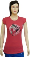 Ultra Fit Printed Women's Round Neck Pink T-Shirt